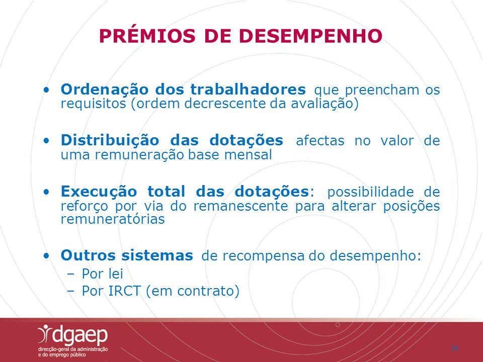 30 PRÉMIOS DE DESEMPENHO Ordenação dos trabalhadores que preencham os requisitos (ordem decrescente da avaliação) Distribuição das dotações afectas no