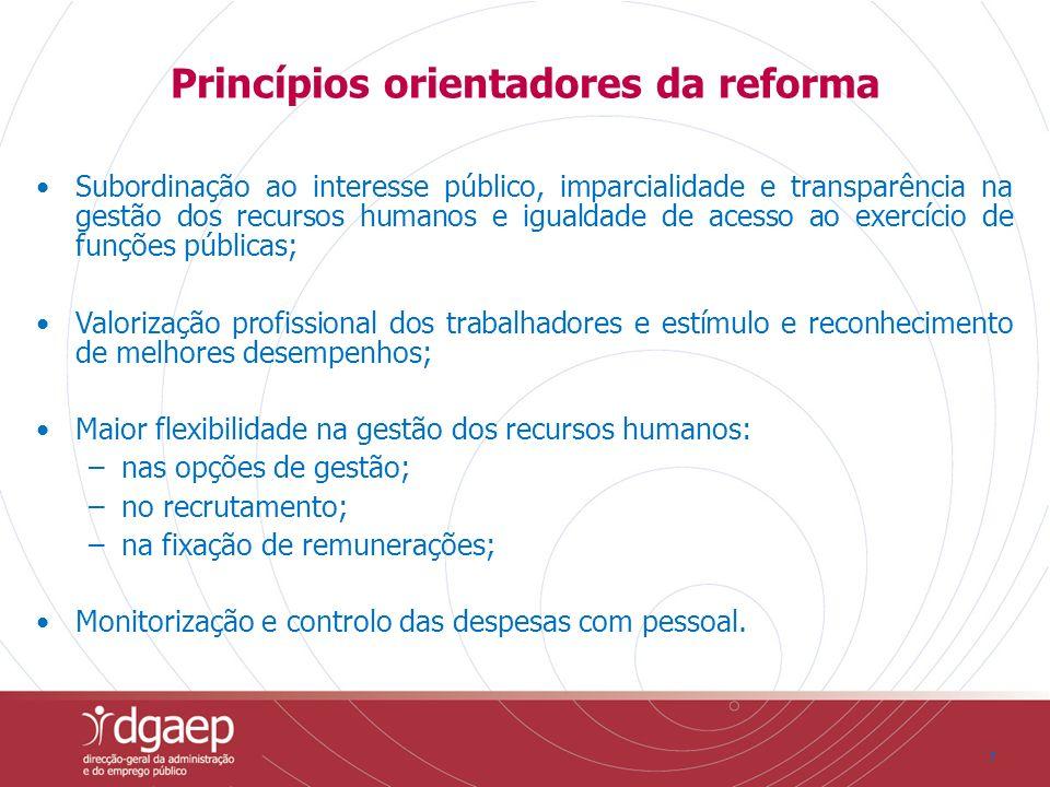 77 Princípios orientadores da reforma Subordinação ao interesse público, imparcialidade e transparência na gestão dos recursos humanos e igualdade de