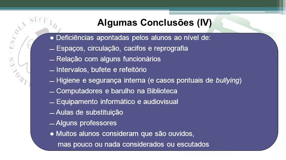 Algumas Conclusões (IV) Deficiências apontadas pelos alunos ao nível de: Espaços, circulação, cacifos e reprografia Relação com alguns funcionários In