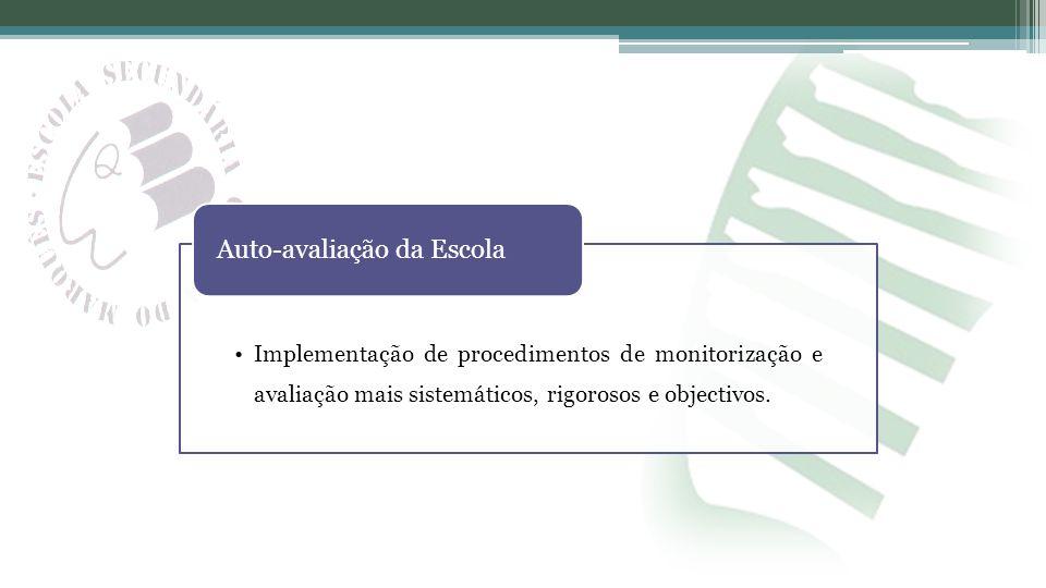 Implementação de procedimentos de monitorização e avaliação mais sistemáticos, rigorosos e objectivos. Auto-avaliação da Escola