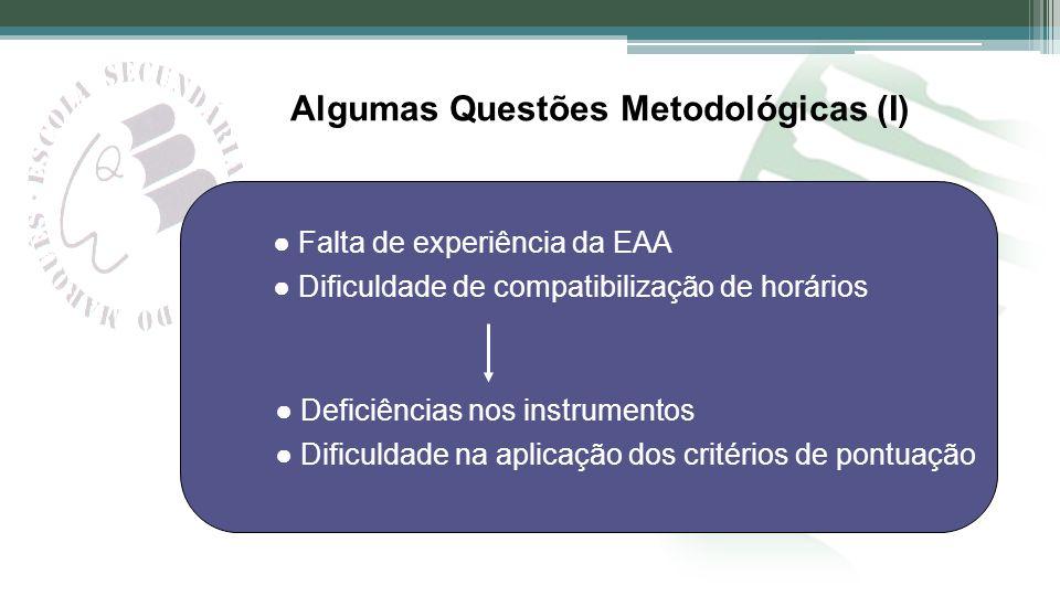 Algumas Questões Metodológicas (I) Falta de experiência da EAA Dificuldade de compatibilização de horários Deficiências nos instrumentos Dificuldade n
