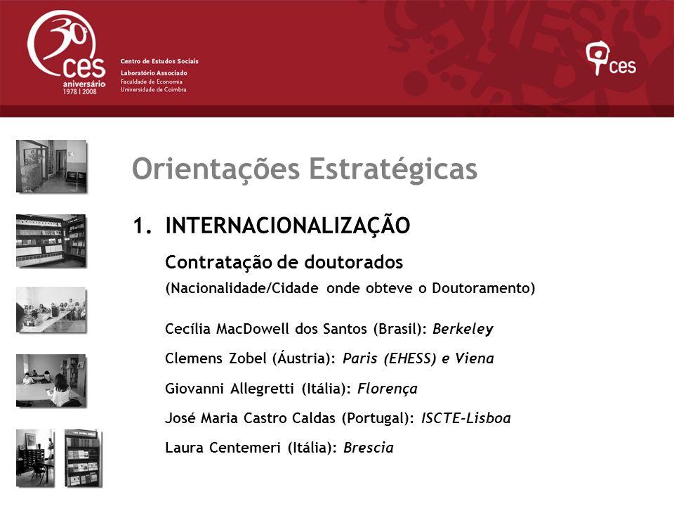 Julho 2007 Orientações Estratégicas 1.INTERNACIONALIZAÇÃO Contratação de doutorados (Nacionalidade/Cidade onde obteve o Doutoramento) Cecília MacDowel