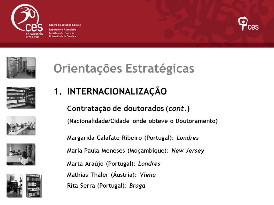 Julho 2007 Orientações Estratégicas 1.INTERNACIONALIZAÇÃO Contratação de doutorados (cont.) (Nacionalidade/Cidade onde obteve o Doutoramento) Margarid