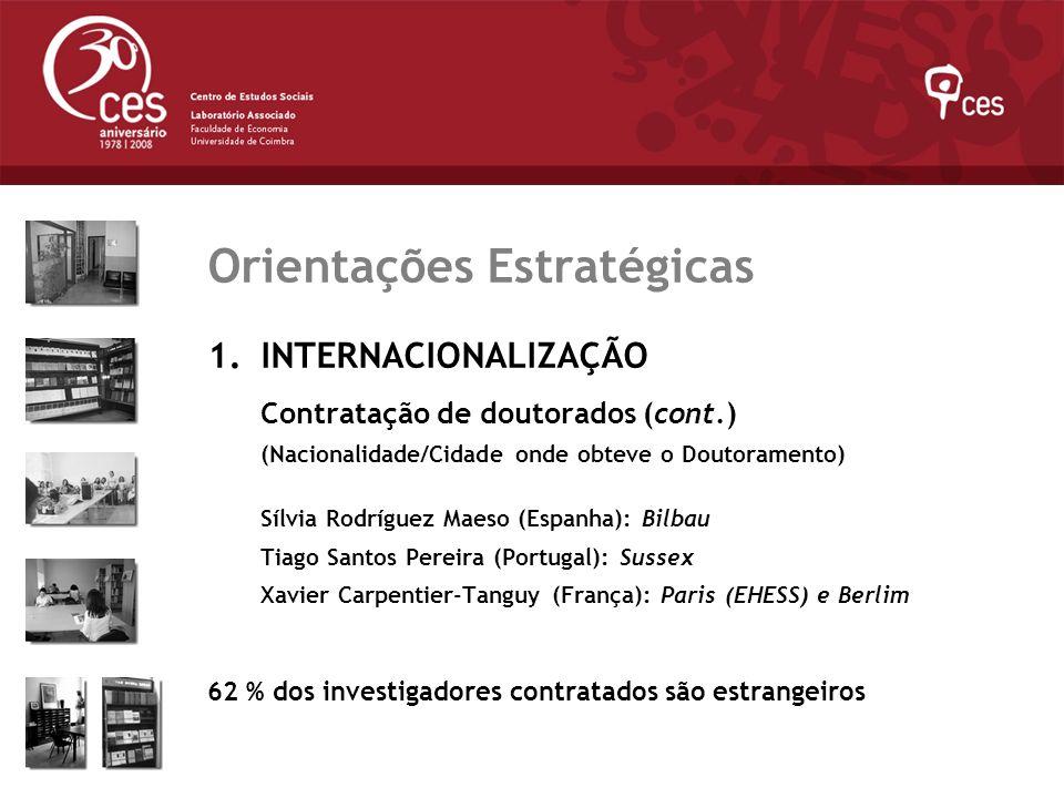 Julho 2007 Orientações Estratégicas 1.INTERNACIONALIZAÇÃO Contratação de doutorados (cont.) (Nacionalidade/Cidade onde obteve o Doutoramento) Sílvia R