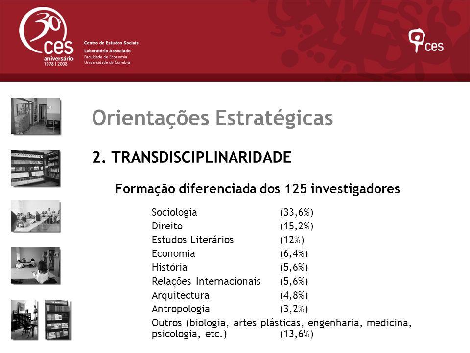 Julho 2007 Orientações Estratégicas 2. TRANSDISCIPLINARIDADE Formação diferenciada dos 125 investigadores Sociologia (33,6%) Direito(15,2%) Estudos Li