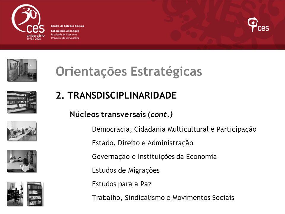 Julho 2007 Orientações Estratégicas 2. TRANSDISCIPLINARIDADE Núcleos transversais (cont.) Democracia, Cidadania Multicultural e Participação Estado, D