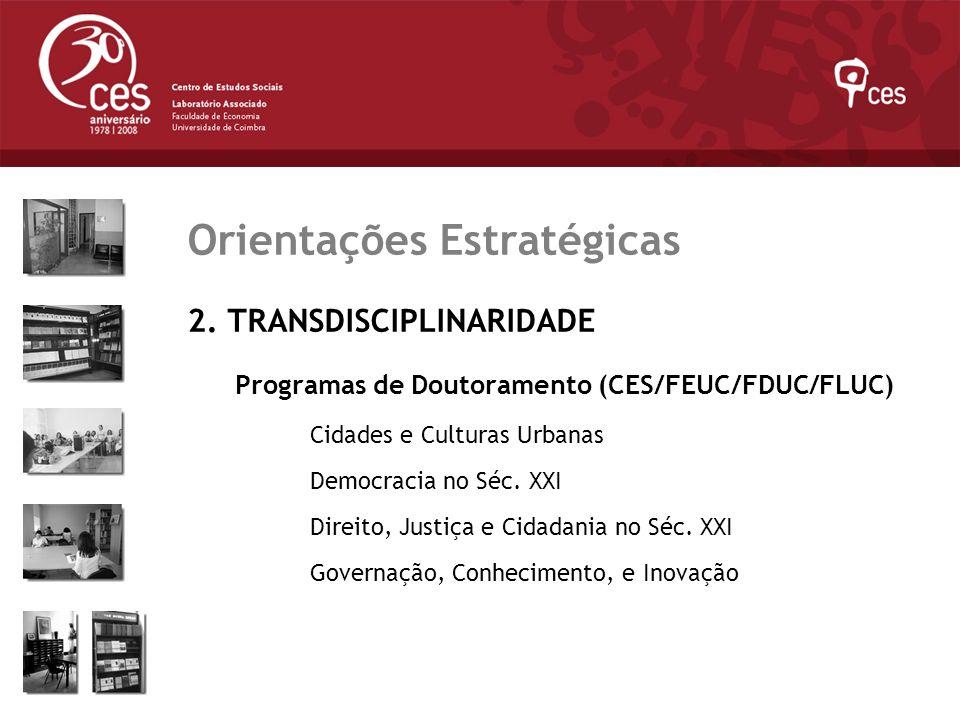 Julho 2007 Orientações Estratégicas 2. TRANSDISCIPLINARIDADE Programas de Doutoramento (CES/FEUC/FDUC/FLUC) Cidades e Culturas Urbanas Democracia no S