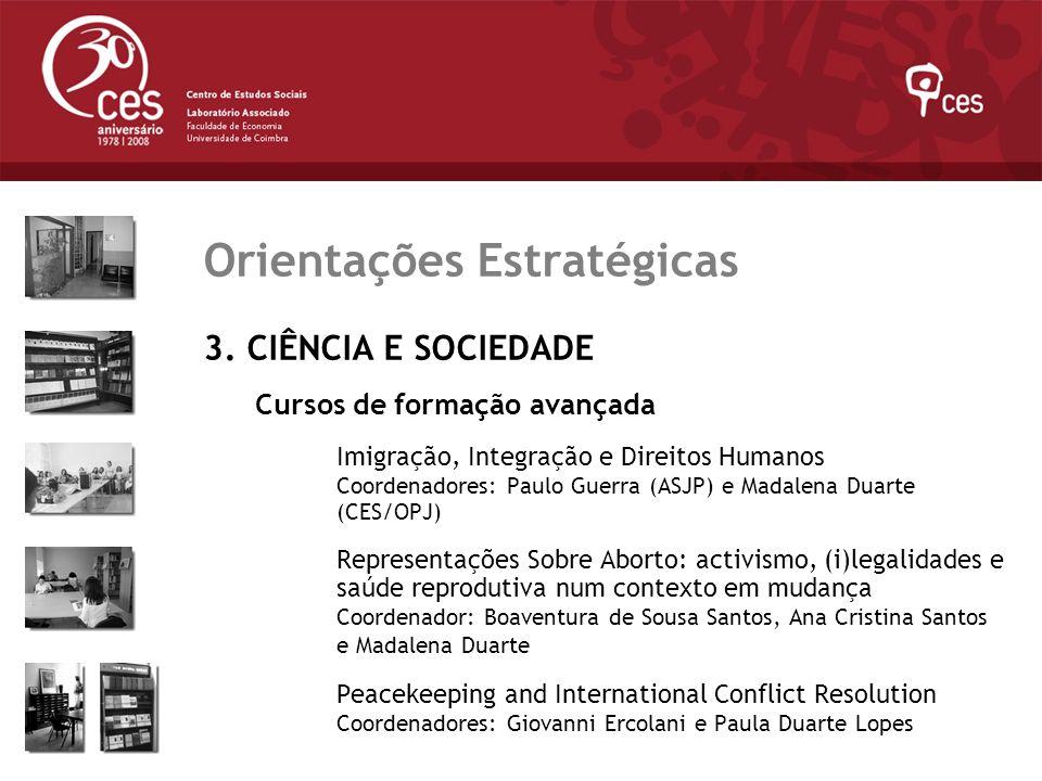 Julho 2007 Orientações Estratégicas 3. CIÊNCIA E SOCIEDADE Cursos de formação avançada Imigração, Integração e Direitos Humanos Coordenadores: Paulo G