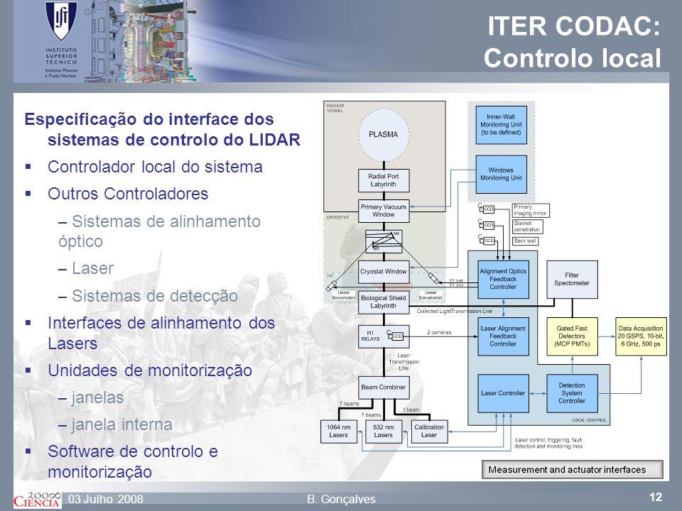 12 B. Gonçalves03 Julho 2008 ITER CODAC: Controlo local Especificação do interface dos sistemas de controlo do LIDAR Controlador local do sistema Outr