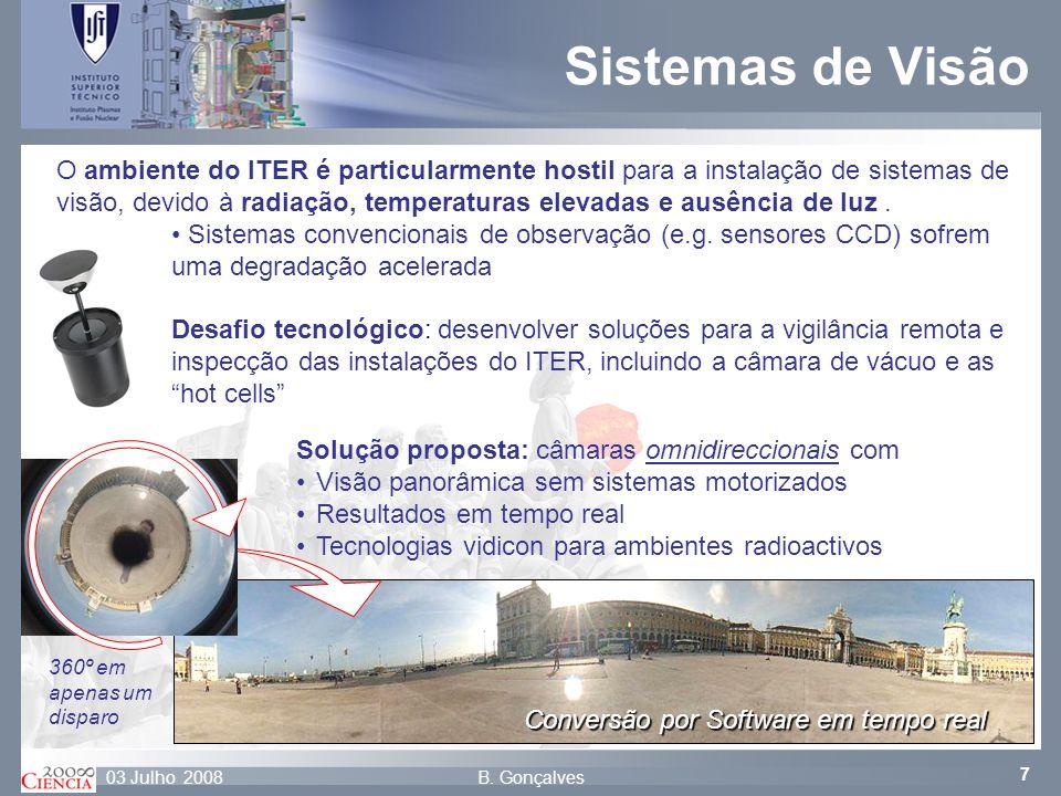 7 B. Gonçalves03 Julho 2008 Conversão por Software em tempo real O ambiente do ITER é particularmente hostil para a instalação de sistemas de visão, d