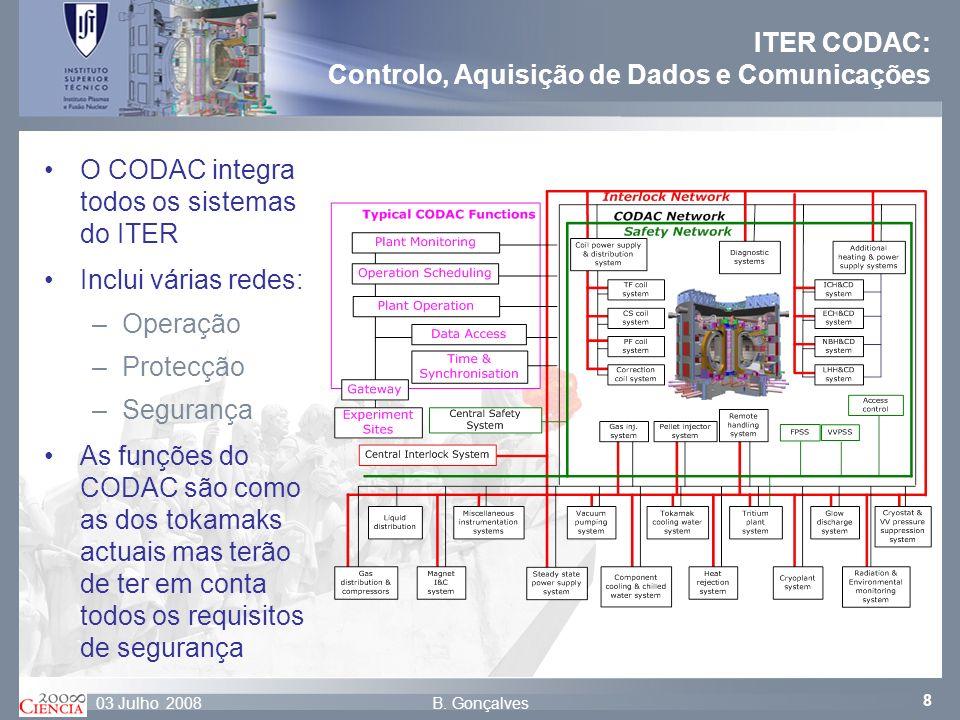 8 B. Gonçalves03 Julho 2008 ITER CODAC: Controlo, Aquisição de Dados e Comunicações O CODAC integra todos os sistemas do ITER Inclui várias redes: –Op