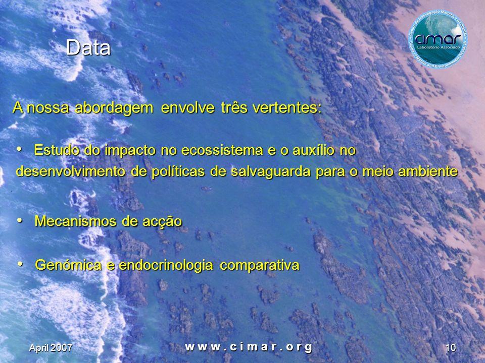 April 2007 w w w. c i m a r. o r g 10 Data Estudo do impacto no ecossistema e o auxílio no Estudo do impacto no ecossistema e o auxílio no desenvolvim