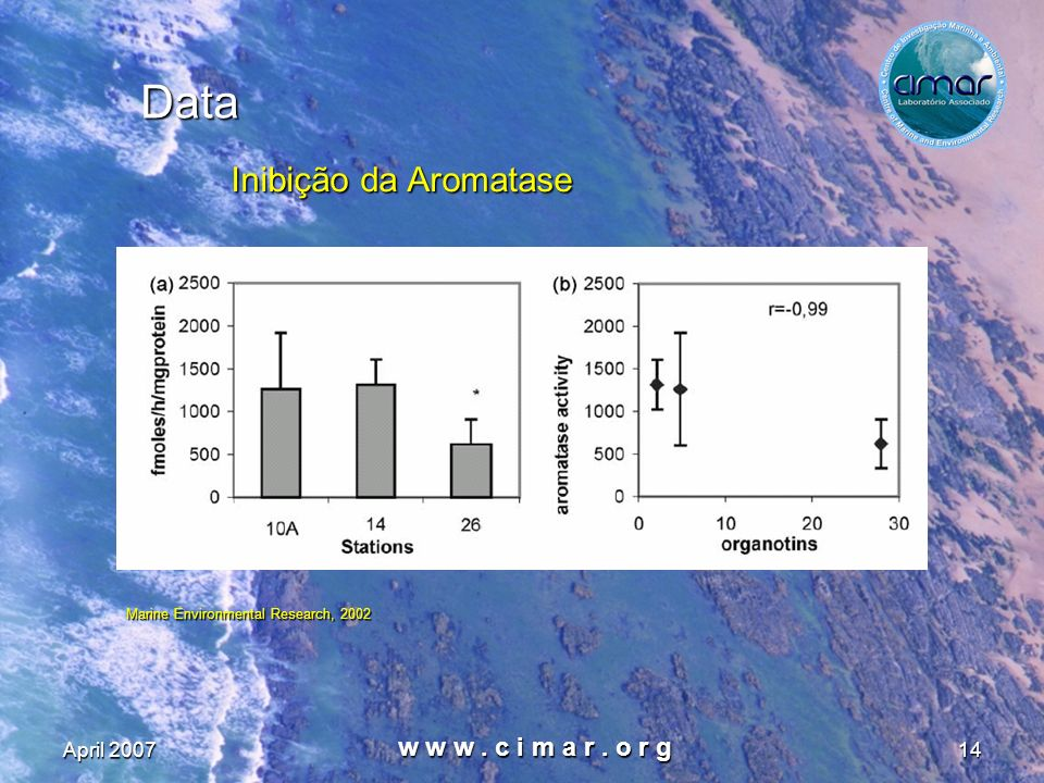 April 2007 w w w. c i m a r. o r g 14 Data Inibição da Aromatase Marine Environmental Research, 2002