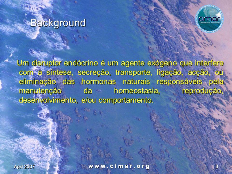 April 2007 w w w. c i m a r. o r g 3 Background Um disruptor endócrino é um agente exógeno que interfere com a síntese, secreção, transporte, ligação,