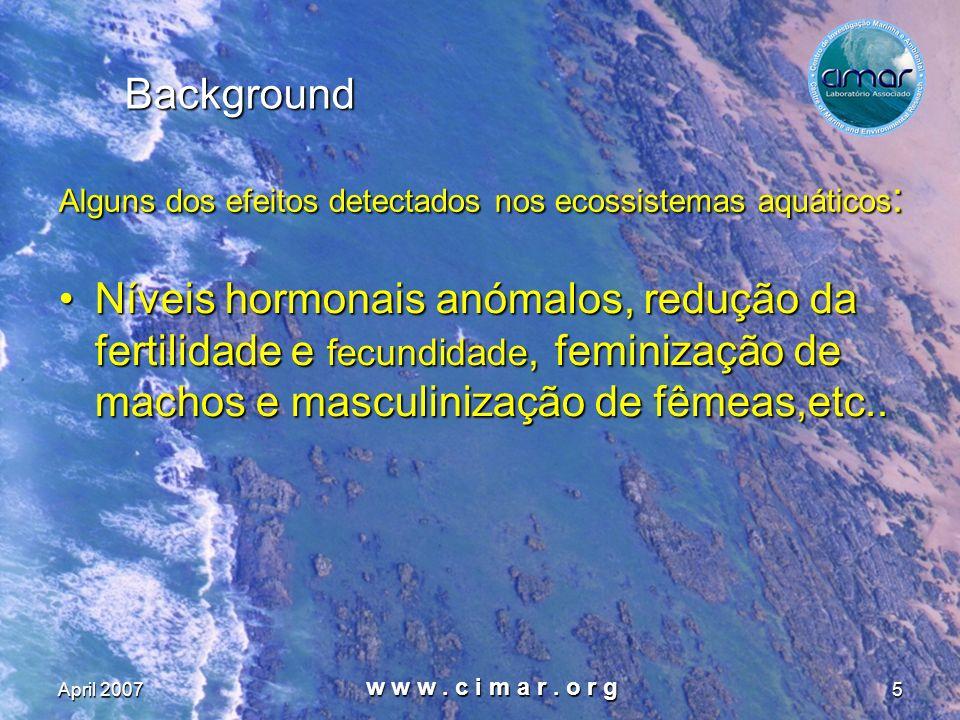 April 2007 w w w. c i m a r. o r g 5 Background Níveis hormonais anómalos, redução da fertilidade e fecundidade, feminização de machos e masculinizaçã