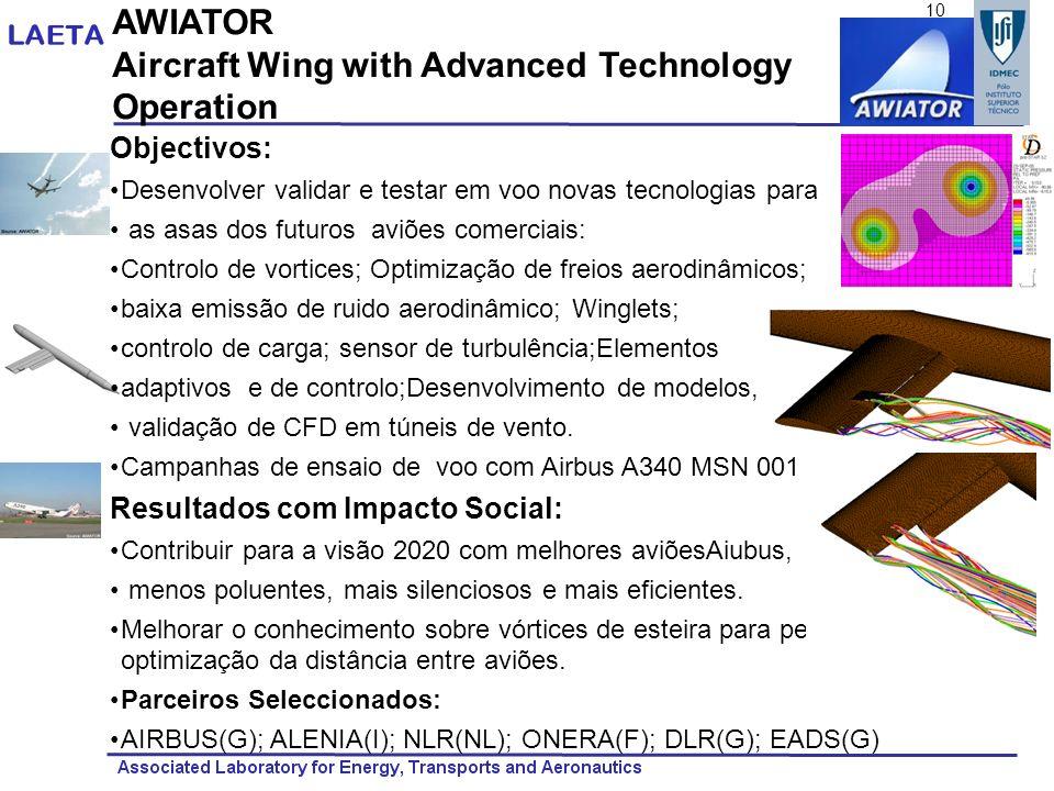 AWIATOR Aircraft Wing with Advanced Technology Operation Objectivos: Desenvolver validar e testar em voo novas tecnologias para as asas dos futuros av