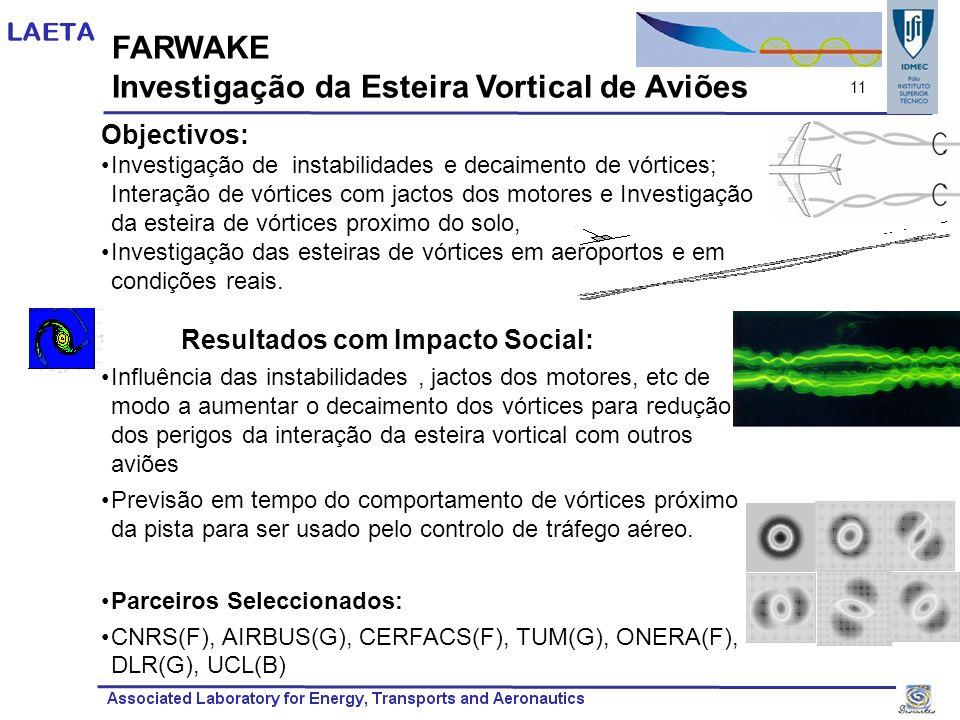 FARWAKE Investigação da Esteira Vortical de Aviões Objectivos: Investigação de instabilidades e decaimento de vórtices; Interação de vórtices com jact