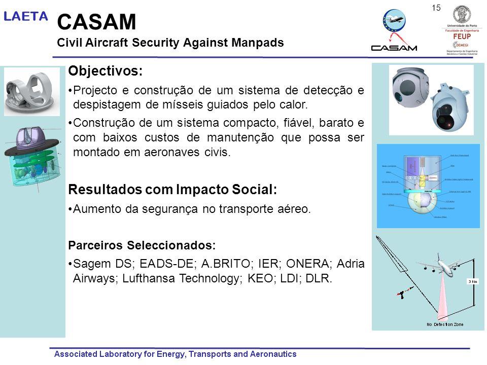 CASAM Civil Aircraft Security Against Manpads Objectivos: Projecto e construção de um sistema de detecção e despistagem de mísseis guiados pelo calor.