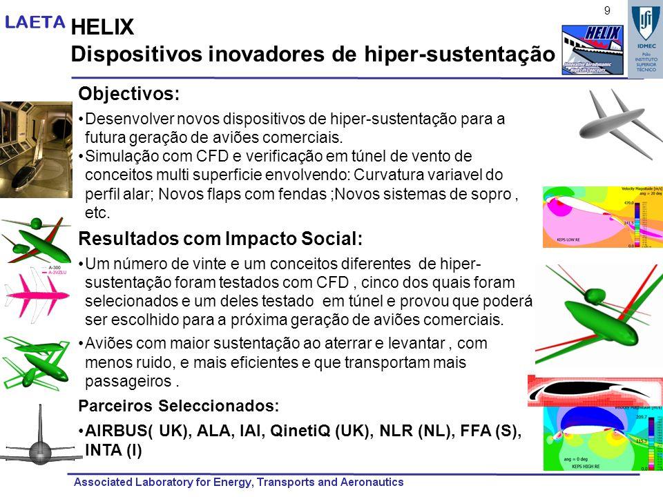HELIX Dispositivos inovadores de hiper-sustentação Objectivos: Desenvolver novos dispositivos de hiper-sustentação para a futura geração de aviões com