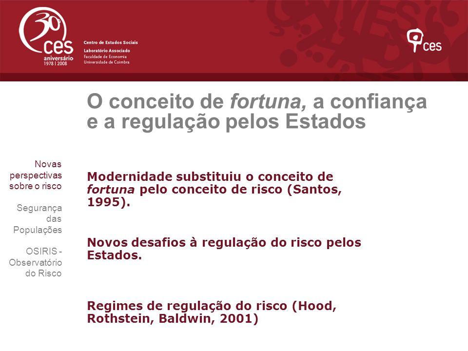 O conceito de fortuna, a confiança e a regulação pelos Estados Modernidade substituiu o conceito de fortuna pelo conceito de risco (Santos, 1995). Nov