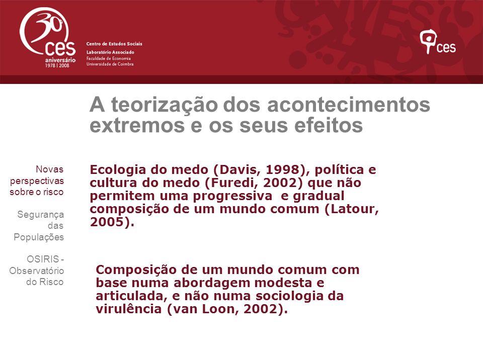 A teorização dos acontecimentos extremos e os seus efeitos Ecologia do medo (Davis, 1998), política e cultura do medo (Furedi, 2002) que não permitem