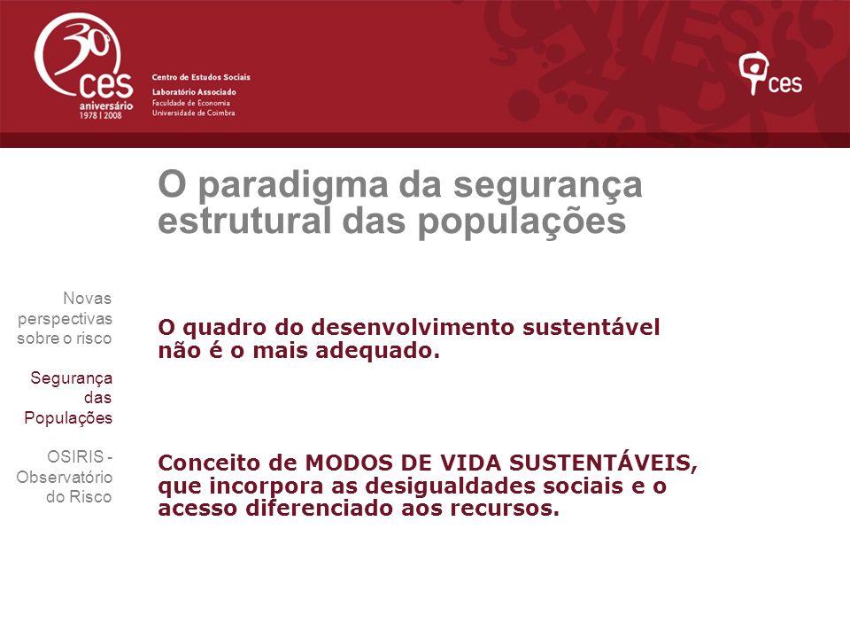 O paradigma da segurança estrutural das populações O quadro do desenvolvimento sustentável não é o mais adequado. Conceito de MODOS DE VIDA SUSTENTÁVE