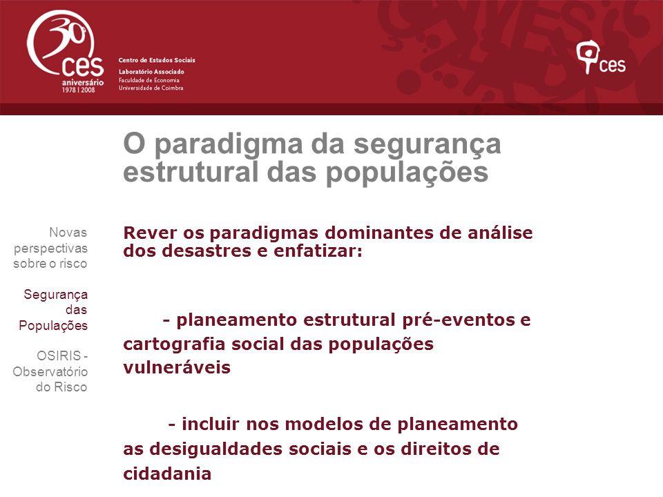O paradigma da segurança estrutural das populações Rever os paradigmas dominantes de análise dos desastres e enfatizar: - planeamento estrutural pré-e