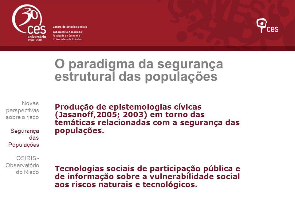 O paradigma da segurança estrutural das populações Produção de epistemologias cívicas (Jasanoff,2005; 2003) em torno das temáticas relacionadas com a