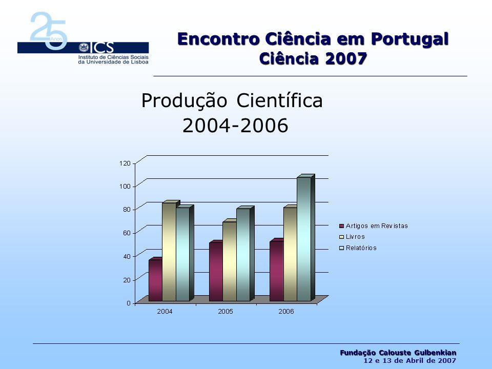 Produção Científica 2004-2006 Encontro Ciência em Portugal Ciência 2007 Fundação Calouste Gulbenkian Fundação Calouste Gulbenkian 12 e 13 de Abril de 2007