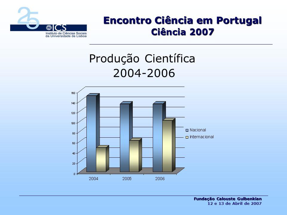 Encontro Ciência em Portugal Ciência 2007 Fundação Calouste Gulbenkian Fundação Calouste Gulbenkian 12 e 13 de Abril de 2007 Produção Científica 2004-2006