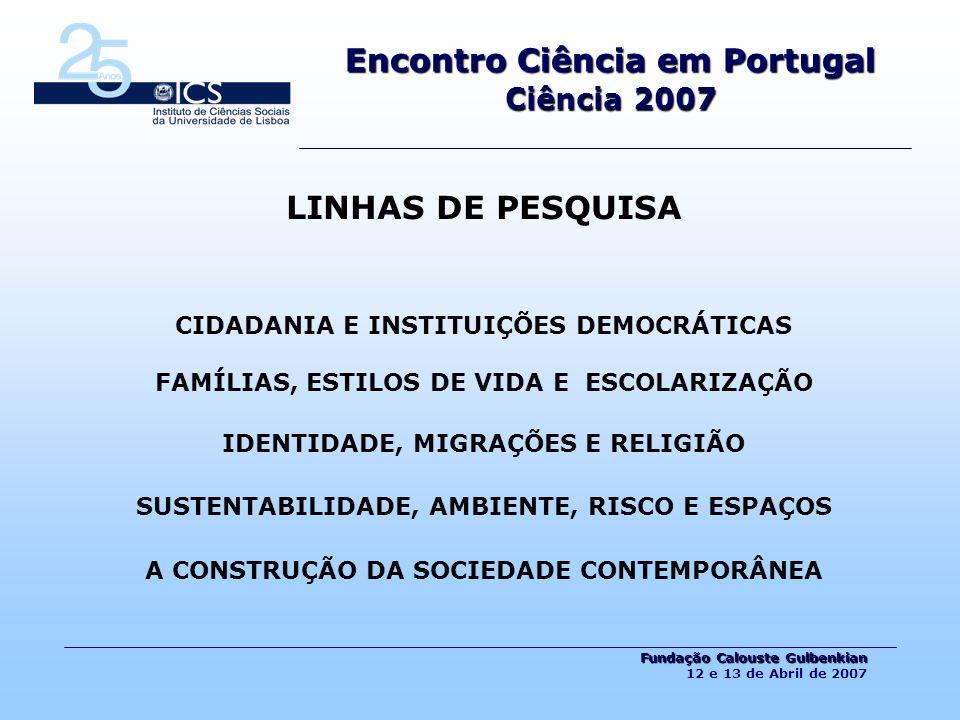 Projectos de Investigação 2006 Nº Total = 194 Encontro Ciência em Portugal Ciência 2007 Fundação Calouste Gulbenkian Fundação Calouste Gulbenkian 12 e 13 de Abril de 2007