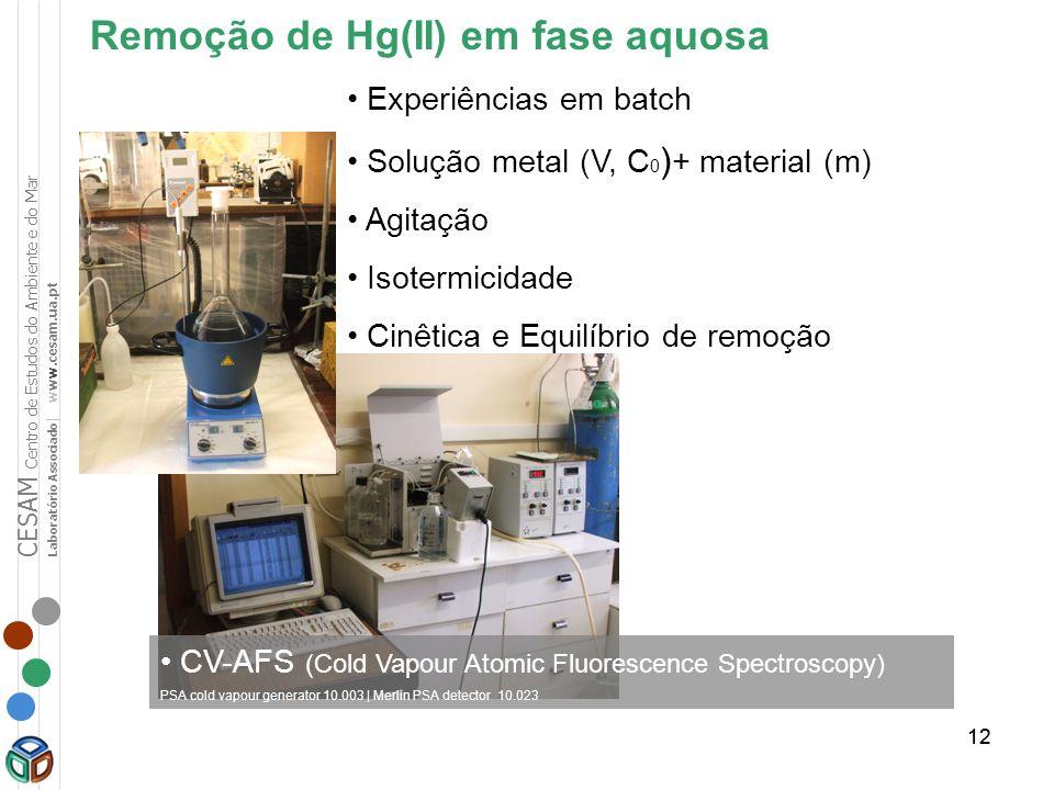 12 Remoção de Hg(II) em fase aquosa Experiências em batch Solução metal (V, C 0 ) + material (m) Agitação Isotermicidade Cinêtica e Equilíbrio de remo