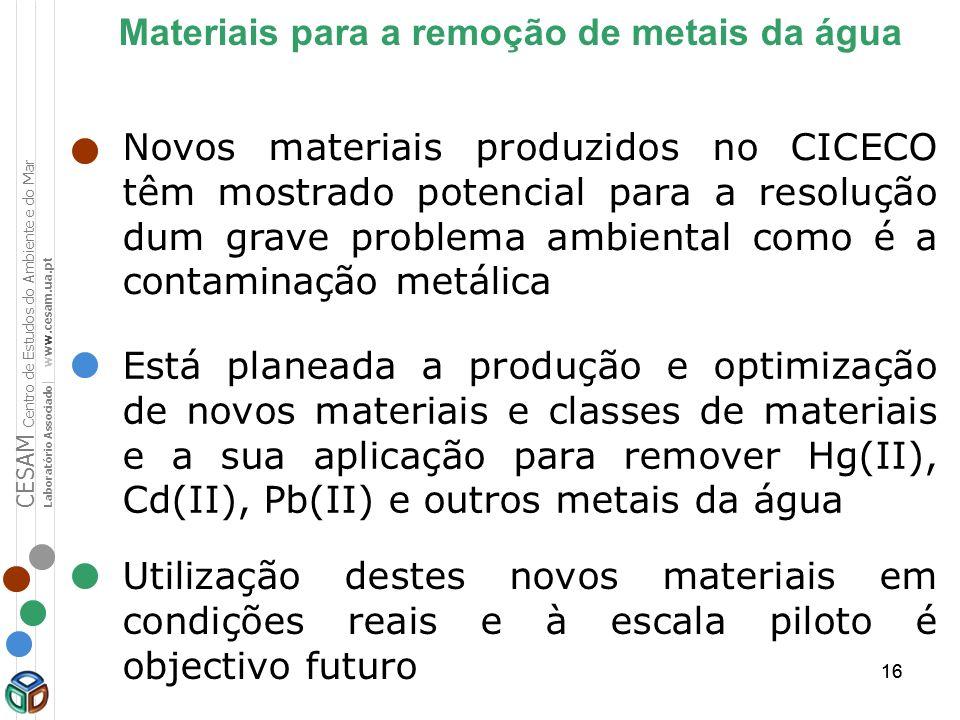 16 Novos materiais produzidos no CICECO têm mostrado potencial para a resolução dum grave problema ambiental como é a contaminação metálica Materiais