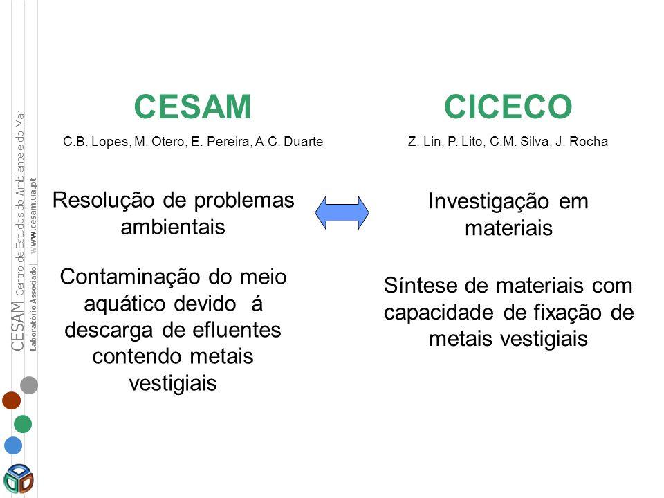 CESAM C.B. Lopes, M. Otero, E. Pereira, A.C. Duarte CICECO Z. Lin, P. Lito, C.M. Silva, J. Rocha Investigação em materiais Resolução de problemas ambi