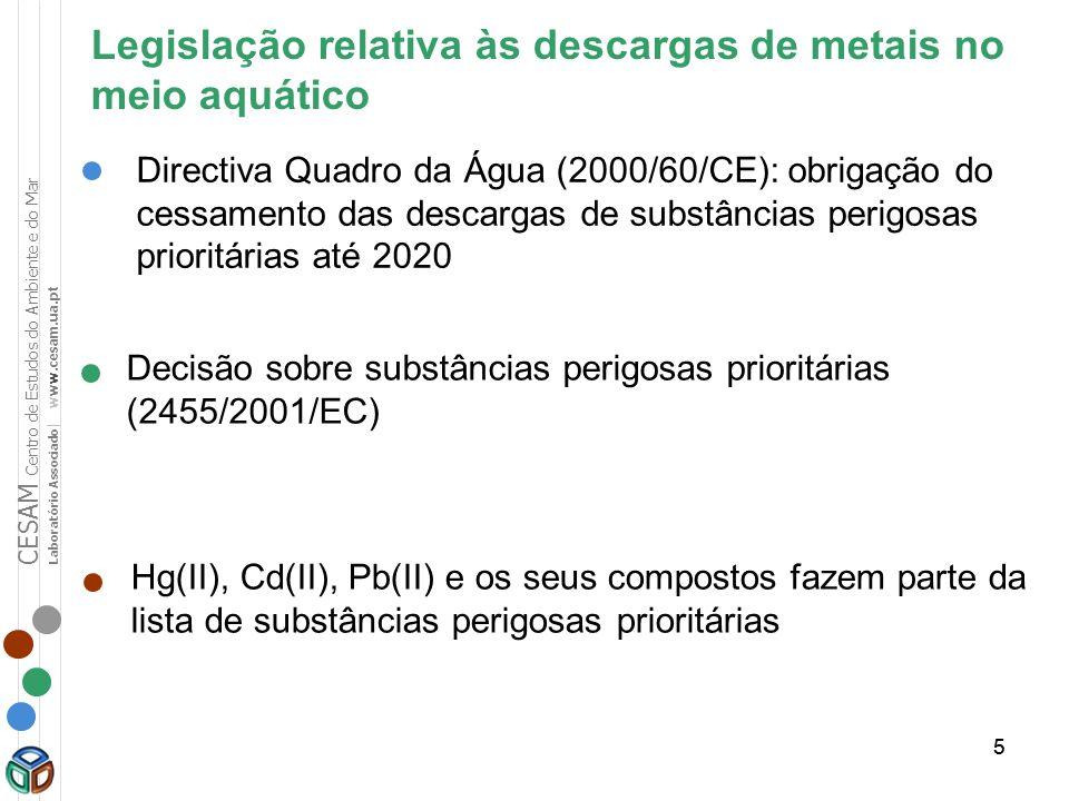 55 Legislação relativa às descargas de metais no meio aquático Decisão sobre substâncias perigosas prioritárias (2455/2001/EC) Directiva Quadro da Águ
