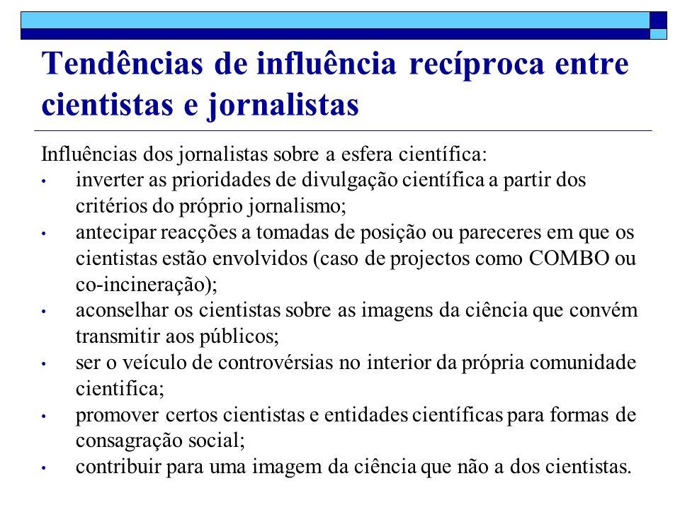 Influências dos jornalistas sobre a esfera científica: inverter as prioridades de divulgação científica a partir dos critérios do próprio jornalismo; antecipar reacções a tomadas de posição ou pareceres em que os cientistas estão envolvidos (caso de projectos como COMBO ou co-incineração); aconselhar os cientistas sobre as imagens da ciência que convém transmitir aos públicos; ser o veículo de controvérsias no interior da própria comunidade cientifica; promover certos cientistas e entidades científicas para formas de consagração social; contribuir para uma imagem da ciência que não a dos cientistas.