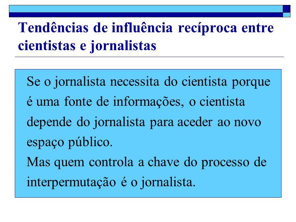 Se o jornalista necessita do cientista porque é uma fonte de informações, o cientista depende do jornalista para aceder ao novo espaço público.