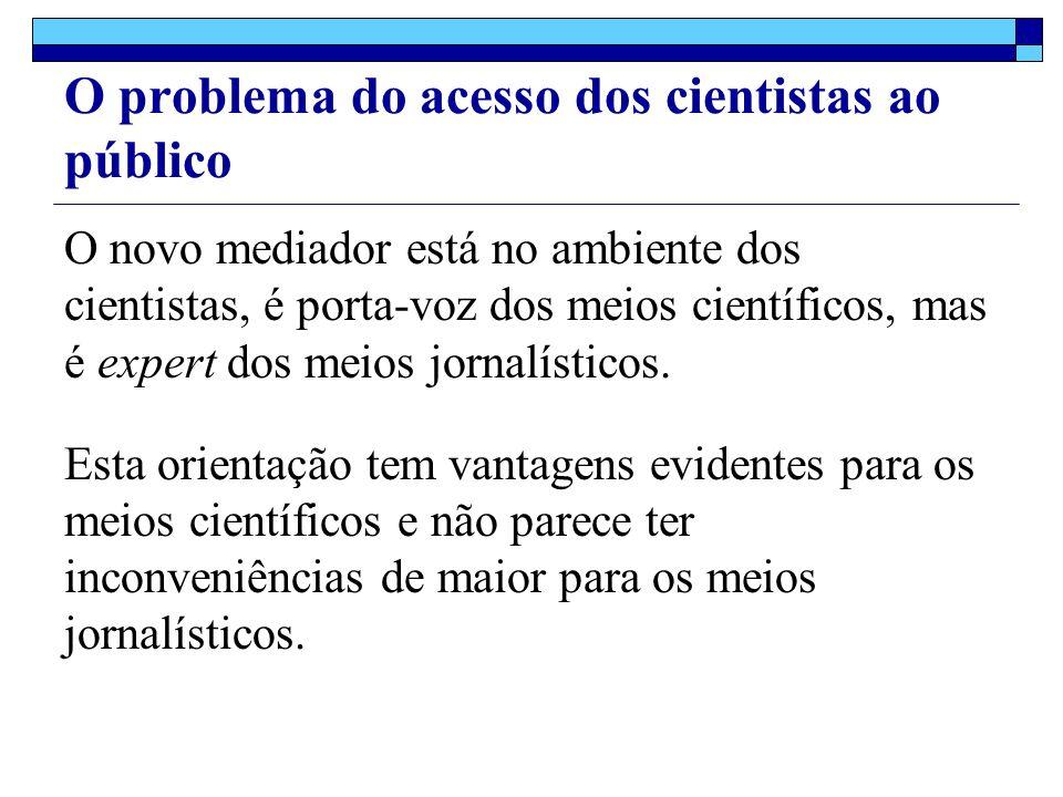 O problema do acesso dos cientistas ao público O novo mediador está no ambiente dos cientistas, é porta-voz dos meios científicos, mas é expert dos meios jornalísticos.