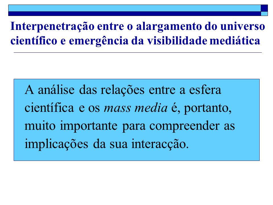 A análise das relações entre a esfera científica e os mass media é, portanto, muito importante para compreender as implicações da sua interacção.