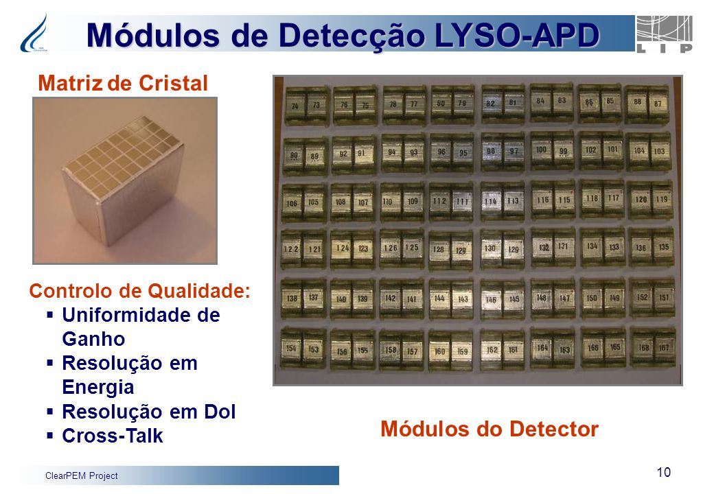 ClearPEM Project 10 Módulos de Detecção LYSO-APD Matriz de Cristal Módulos do Detector Controlo de Qualidade: Uniformidade de Ganho Resolução em Energ