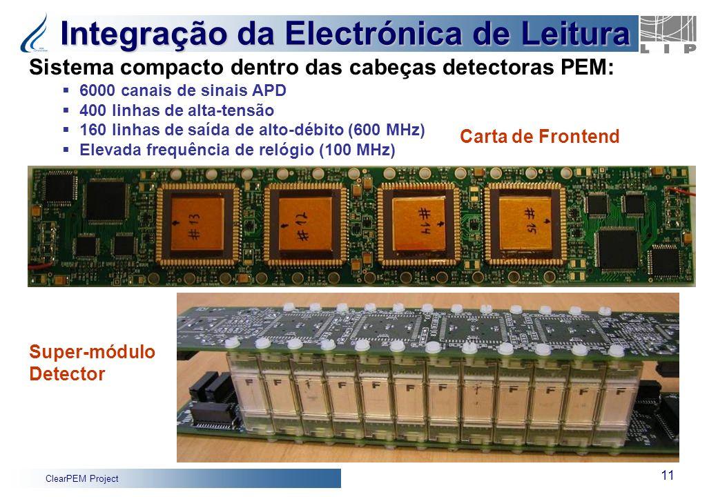 ClearPEM Project 11 Integração da Electrónica de Leitura Super-módulo Detector Sistema compacto dentro das cabeças detectoras PEM: 6000 canais de sina