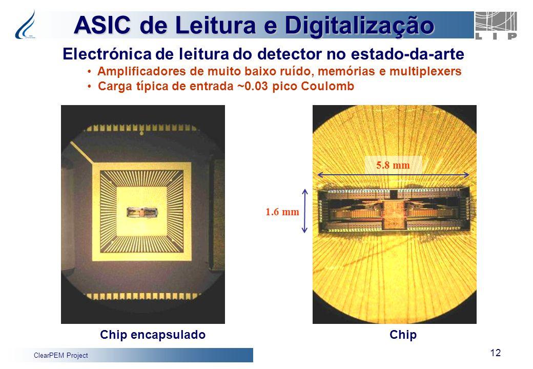 ClearPEM Project 12 ASIC de Leitura e Digitalização 5.8 mm 1.6 mm Chip encapsuladoChip Electrónica de leitura do detector no estado-da-arte Amplificad