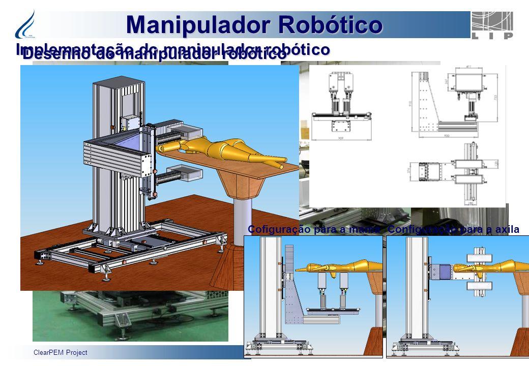 ClearPEM Project 17 Armário de Controlo Robô Implementação do manipulador robótico Manipulador Robótico Cofiguração para a mamaConfiguração para a axi