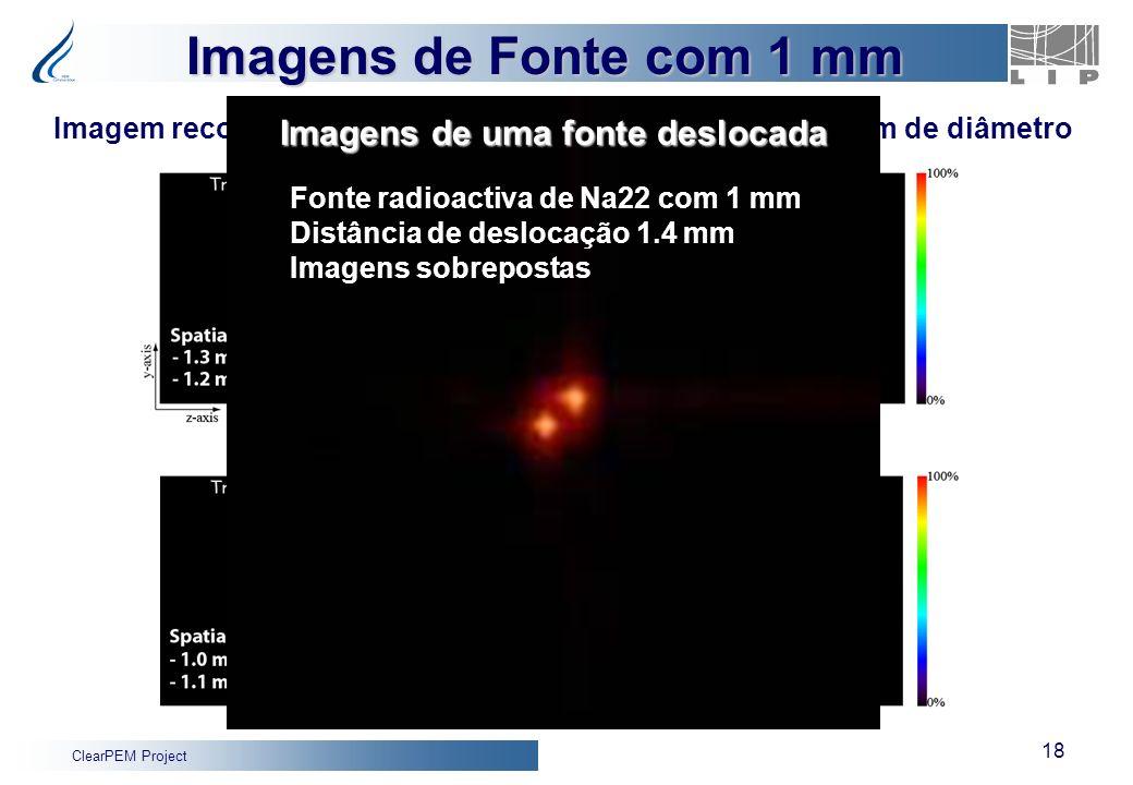 ClearPEM Project 18 Imagem reconstruída de fonte de positrões (Na22) com 1 mm de diâmetro Simulated Data Dados Simulação Fonte radioactiva de Na22 com