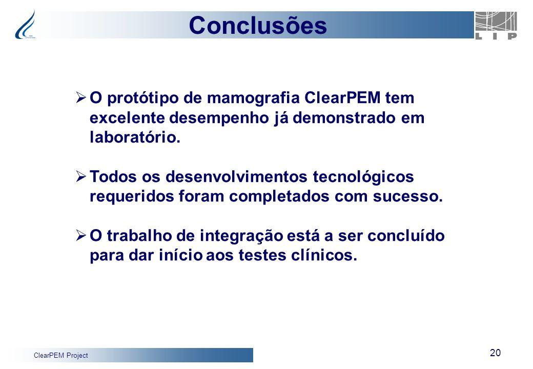 ClearPEM Project 20 Conclusões O protótipo de mamografia ClearPEM tem excelente desempenho já demonstrado em laboratório. Todos os desenvolvimentos te