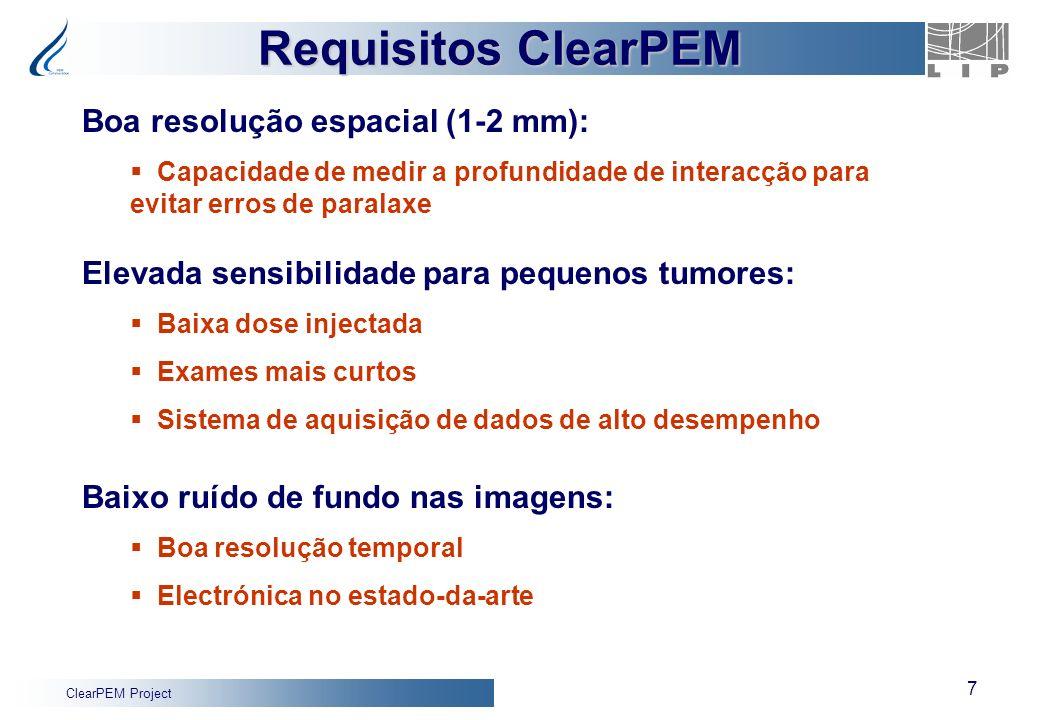 ClearPEM Project 7 Boa resolução espacial (1-2 mm): Capacidade de medir a profundidade de interacção para evitar erros de paralaxe Elevada sensibilida