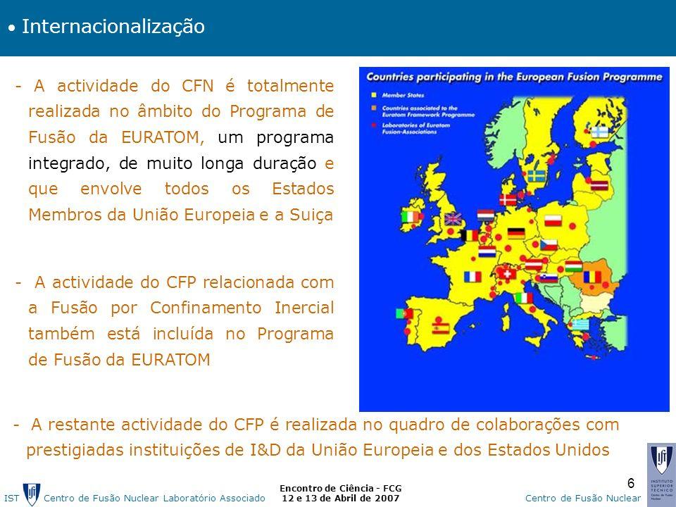 IST Centro de Fusão Nuclear Laborat ó rio AssociadoCentro de Fusão Nuclear Encontro de Ciência - FCG 12 e 13 de Abril de 2007 6 - A actividade do CFN é totalmente realizada no âmbito do Programa de Fusão da EURATOM, um programa integrado, de muito longa duração e que envolve todos os Estados Membros da União Europeia e a Suiça - A actividade do CFP relacionada com a Fusão por Confinamento Inercial também está incluída no Programa de Fusão da EURATOM - A restante actividade do CFP é realizada no quadro de colaborações com prestigiadas instituições de I&D da União Europeia e dos Estados Unidos Internacionalização