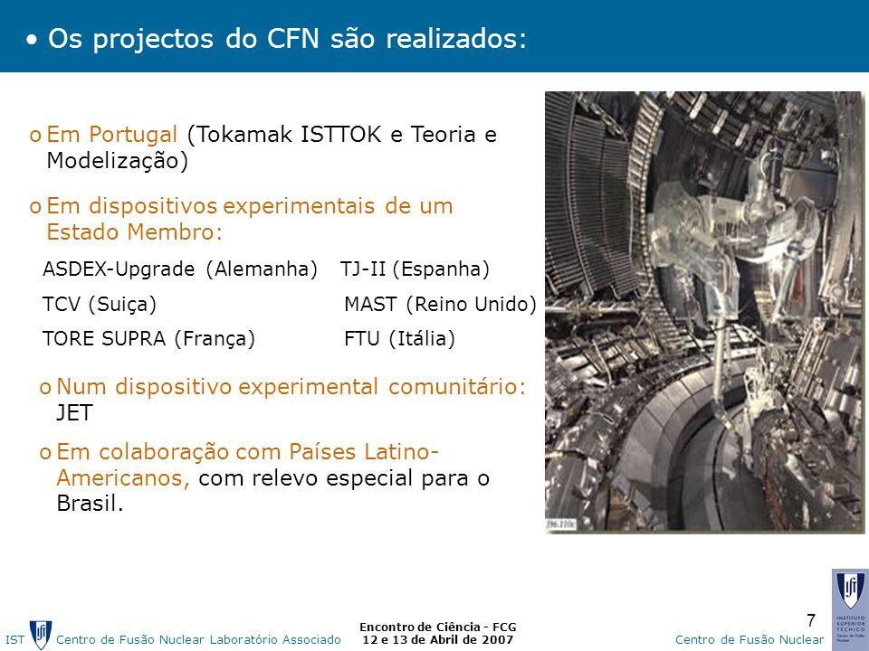 IST Centro de Fusão Nuclear Laborat ó rio AssociadoCentro de Fusão Nuclear Encontro de Ciência - FCG 12 e 13 de Abril de 2007 7 oEm Portugal (Tokamak ISTTOK e Teoria e Modelização) oNum dispositivo experimental comunitário: JET oEm colaboração com Países Latino- Americanos, com relevo especial para o Brasil.