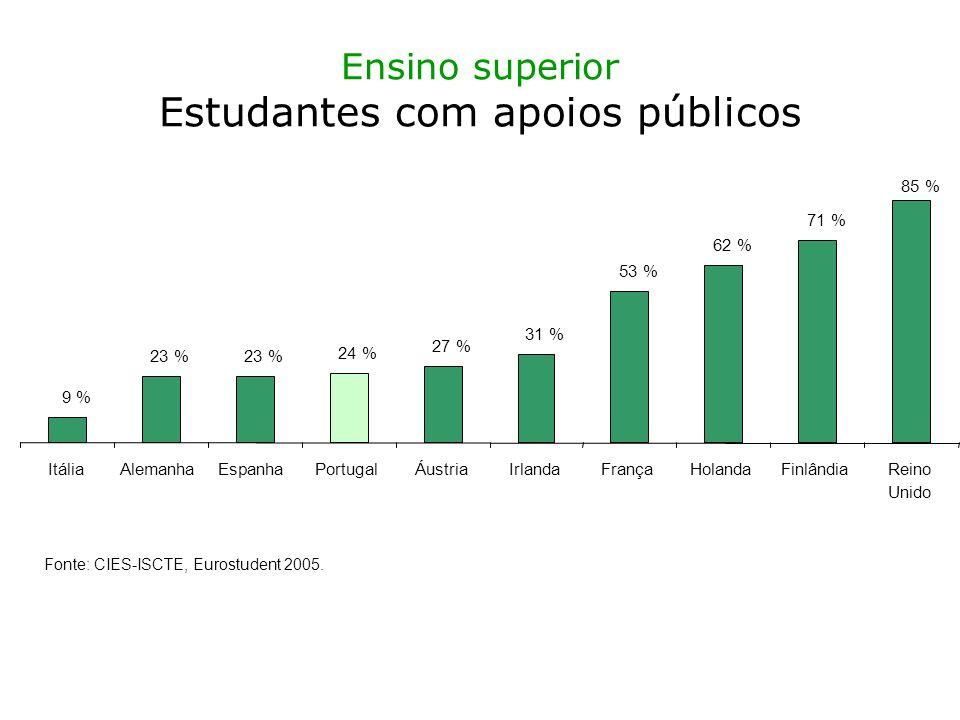 Ensino superior Estudantes com apoios públicos 9 % 23 % 24 % 27 % 31 % 53 % 62 % 71 % 85 % ItáliaAlemanhaEspanhaPortugalÁustriaIrlandaFrançaHolandaFinlândiaReino Unido Fonte: CIES-ISCTE, Eurostudent 2005.