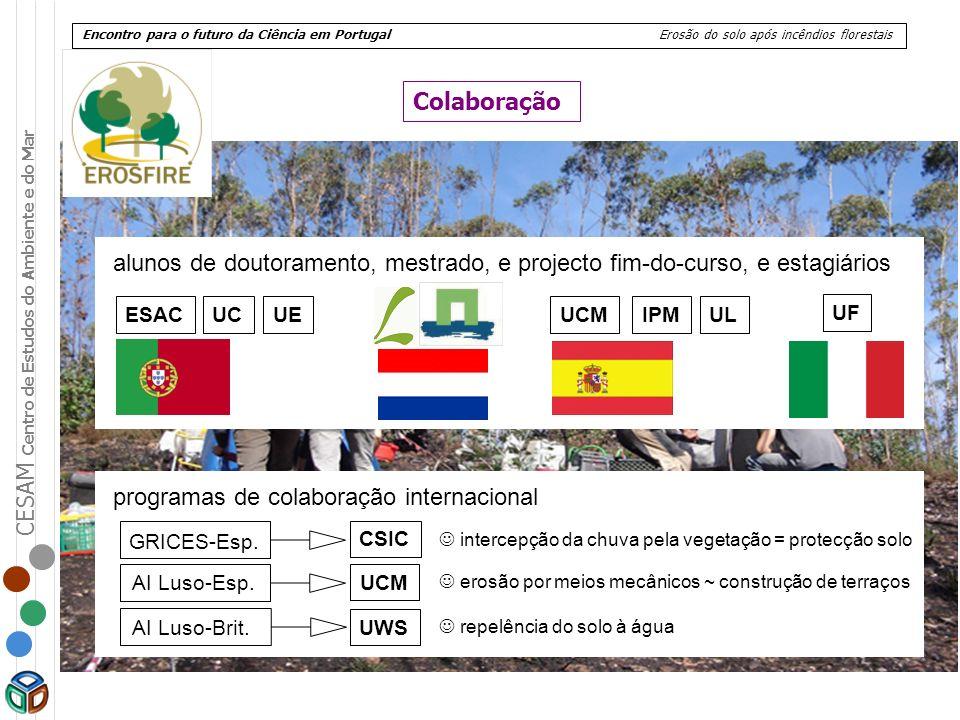 CESAM Centro de Estudos do Ambiente e do Mar Encontro para o futuro da Ciência em Portugal Erosão do solo após incêndios florestais GRICES-Esp. AI Lus